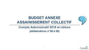 BUDGET ANNEXE ASSAINISSEMENT COLLECTIF Compte Administratif 2019 et