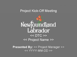 Project KickOff Meeting DTC Project Name Presented By