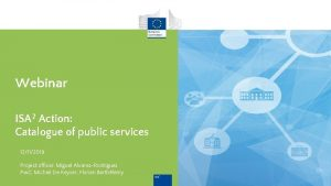 Webinar ISA 2 Action Catalogue of public services