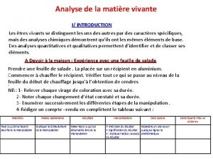 Analyse de la matire vivante I INTRODUCTION Les