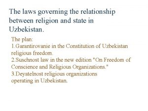 The laws governing the relationship between religion and