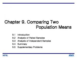 Chapter 9 Comparing Two Population Means 9 1