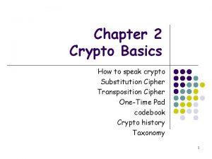 Chapter 2 Crypto Basics How to speak crypto