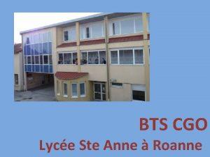 BTS CGO Lyce Ste Anne Roanne Plan de