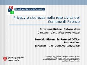 Privacy e sicurezza nella rete civica del Comune
