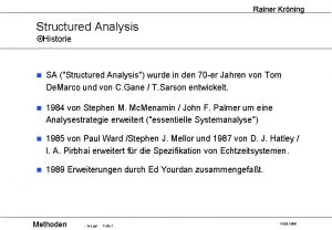 Rainer Krning Structured Analysis Historie n SA Structured