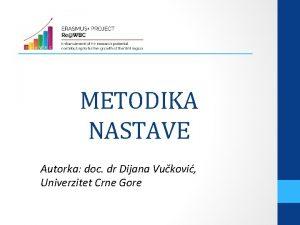 METODIKA NASTAVE Autorka doc dr Dijana Vukovi Univerzitet