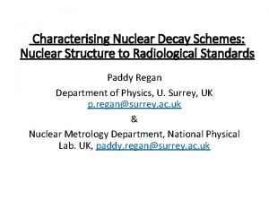 Characterising Nuclear Decay Schemes Nuclear Structure to Radiological