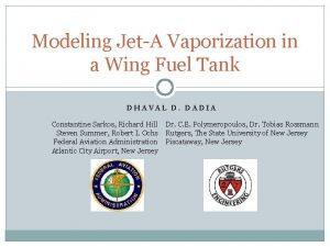 Modeling JetA Vaporization in a Wing Fuel Tank