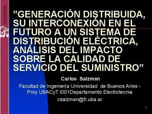 GENERACIN DISTRIBUIDA SU INTERCONEXIN EN EL FUTURO A