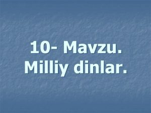 10 Mvzu Milliy dinlr Reja n 1 Yahudiylik