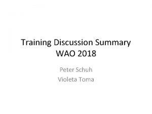 Training Discussion Summary WAO 2018 Peter Schuh Violeta
