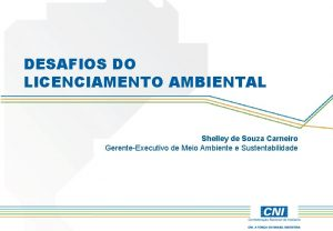 DESAFIOS DO LICENCIAMENTO AMBIENTAL Shelley de Souza Carneiro