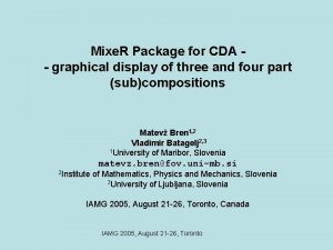 Mixe R Package for CDA graphical display of