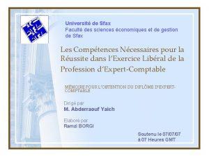 Universit de Sfax Facult des sciences conomiques et
