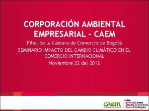 CORPORACIN AMBIENTAL EMPRESARIAL CAEM Filial de la Cmara