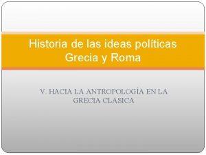 Historia de las ideas polticas Grecia y Roma