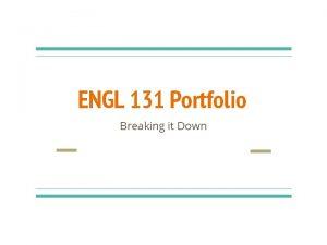 ENGL 131 Portfolio Breaking it Down Portfolio Requirements