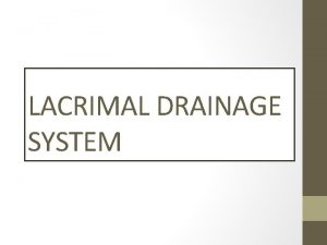 LACRIMAL DRAINAGE SYSTEM ANATOMY The nasolacrimal drainage system