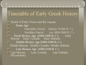Timetable of Early Greek History Sketch of Early