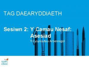 TAG DAEARYDDIAETH Sesiwn 2 Y Camau Nesaf Asesiad