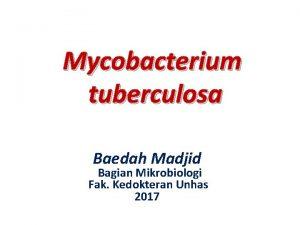 Mycobacterium tuberculosa Baedah Madjid Bagian Mikrobiologi Fak Kedokteran