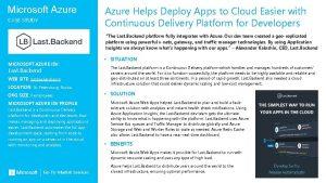 Microsoft Azure CASE STUDY Azure Helps Deploy Apps