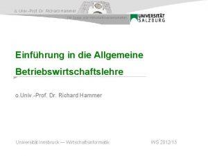 o Univ Prof Dr Richard Hammer FB Sozial