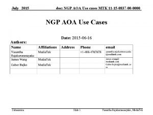 July 2015 doc NGP AOA Use cases MTK