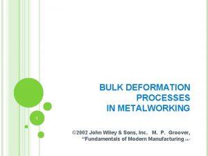 BULK DEFORMATION PROCESSES IN METALWORKING 1 2002 John