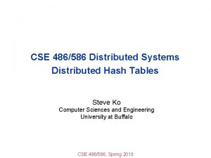 CSE 486586 Distributed Systems Distributed Hash Tables Steve