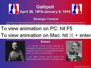Gallipoli April 25 1915 January 9 1916 Strategic