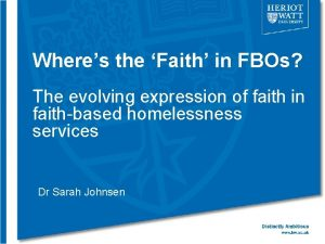 Wheres the Faith in FBOs The evolving expression