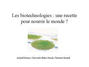 Les biotechnologies une recette pour nourrir le monde
