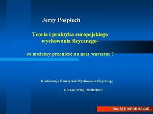 Jerzy Popiech Teoria i praktyka europejskiego wychowania fizycznegoco