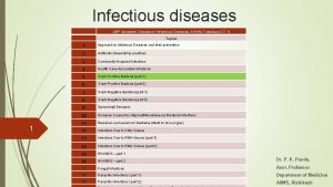 Infectious diseases 45 th Semester Classes on Infectious