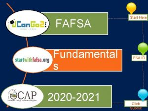 FAFSA Fundamental s 2020 2021 Start Here FSA