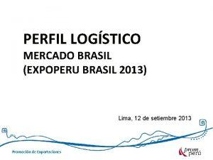 PERFIL LOGSTICO MERCADO BRASIL EXPOPERU BRASIL 2013 Lima