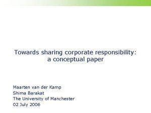 Towards sharing corporate responsibility a conceptual paper Maarten