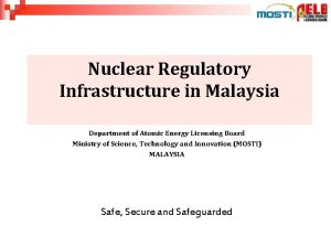 Nuclear Regulatory Infrastructure in Malaysia NUCLEAR ENERGY REGULATORY