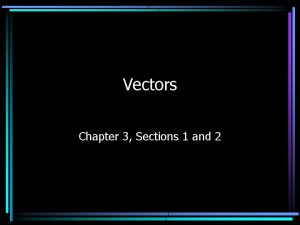 Vectors Chapter 3 Sections 1 and 2 Vectors