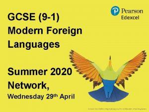 GCSE 9 1 Modern Foreign Languages Summer 2020