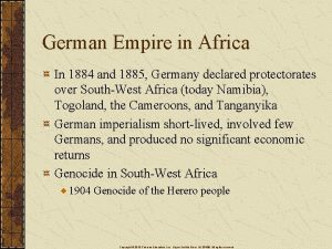 German Empire in Africa In 1884 and 1885