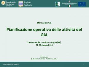 Regione Basilicata Start up dei Gal Pianificazione operativa