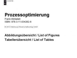 Prozessoptimierung Frank Wirbeleit ISBN 978 3 11 034262