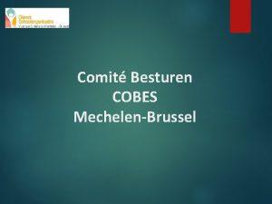 Comit Besturen COBES MechelenBrussel COBES een reflectieorgaan van