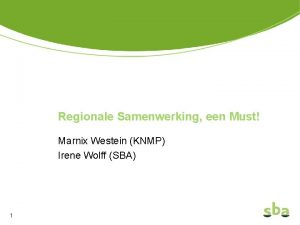 Regionale Samenwerking een Must Marnix Westein KNMP Irene