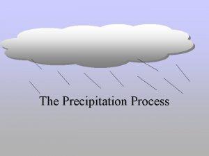 The Precipitation Process PURPOSE OF CLASS The purpose