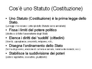 DALLO STATUTO ALLA COSTITUZIONE PERCHE UNA NUOVA COSTITUZIONE