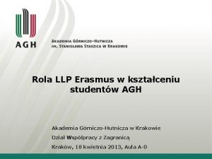Rola LLP Erasmus w ksztaceniu studentw AGH Akademia